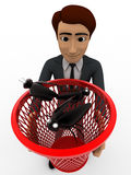 3d man catching black bugs in red dustbin basket concept Stock Images