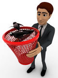 3d man catching black bugs in red dustbin basket concept Royalty Free Stock Photos