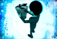 3d man catching black bugs in red dustbin basket illustration Royalty Free Stock Photography