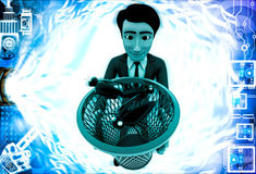 3d man catching black bugs in red dustbin basket illustration Royalty Free Stock Images