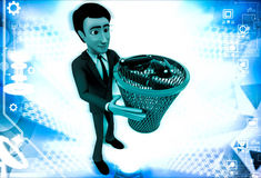 3d man catching black bugs in red dustbin basket illustration Stock Image