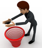 3d man catching bug and throughing it into dustbin concept Stock Images