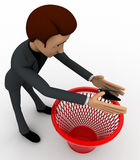 3d man catching bug and throughing it into dustbin concept Royalty Free Stock Photo