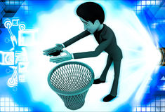 3d man catching bug and throughing it into dustbin illustration Stock Images