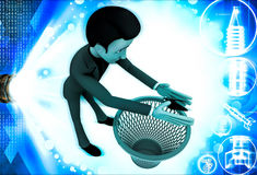 3d man catching bug and throughing it into dustbin illustration Stock Photos