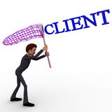 3d man catching client with net concept Stock Photos