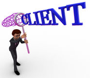 3d man catching client with net concept Royalty Free Stock Photography