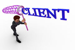 3d man catching client with net concept Stock Photography