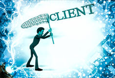 3d man catching client with net illustration Stock Photography