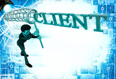 3d man catching client with net illustration Royalty Free Stock Photo