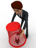 3d man catching flying bug with dustbin net concept Stock Photo