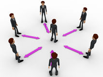 3d man in center of every bidirectional arrow with other men concept Royalty Free Stock Photography