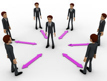 3d man in center of every bidirectional arrow with other men concept Stock Photography