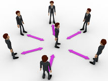 3d man in center of every bidirectional arrow with other men concept Royalty Free Stock Photo