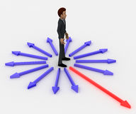 3d man in center of surroundering arrows and choose red one to walk on concept Royalty Free Stock Images
