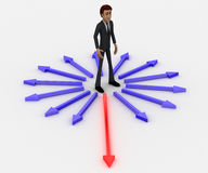 3d man in center of surroundering arrows and choose red one to walk on concept Stock Photography