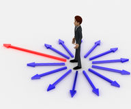3d man in center of surroundering arrows and choose red one to walk on concept Royalty Free Stock Photos