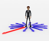 3d man in center of surroundering arrows and choose red one to walk on concept Stock Photos