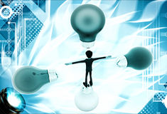 3d man in centre of colourful bulbs on all direction illustration Stock Photography