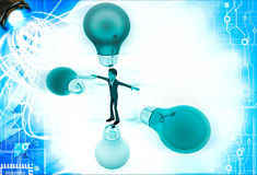 3d man in centre of colourful bulbs on all direction illustration Stock Photo