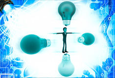 3d man in centre of colourful bulbs on all direction illustration Royalty Free Stock Photo