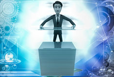 3d man with ceramic tiles illustration Stock Images