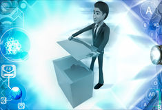 3d man with ceramic tiles illustration Royalty Free Stock Image