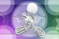 3d man cfl light illustration Royalty Free Stock Image
