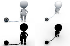 3d man with chain ball concept collections with alpha and shadow channel Royalty Free Stock Images