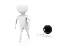3d man chain ball concept Stock Image
