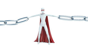 3d man and chain. link.  Royalty Free Stock Image