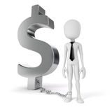 3d man with chain standing near dollar symbol. On white background Stock Photography