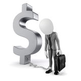 3d man with chain standing near dollar symbol. On white background Stock Image