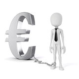 3d man with chain standing near Euro symbol Stock Photos