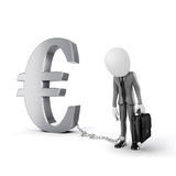 3d man with chain standing near Euro symbol Stock Image