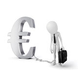 3d man with chain standing near Euro symbol Stock Photography
