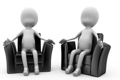 3d man on chair concept Royalty Free Stock Photo