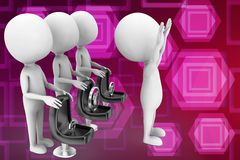 3d man with  chair different positions illustration Royalty Free Stock Photography