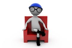 3d man chair and glasses concept Royalty Free Stock Images