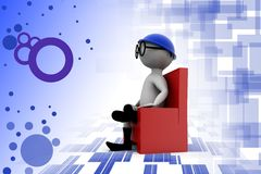 3d man chair and glasses illustration Royalty Free Stock Photo