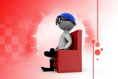 3d man chair and glasses illustration Royalty Free Stock Photography