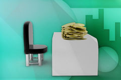 3d man chair gold coin illustration Royalty Free Stock Images