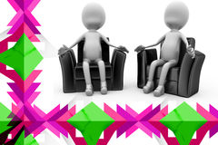 3d man on chair  illustration Royalty Free Stock Image