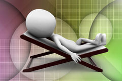3d man chair sleep illustration Stock Photos