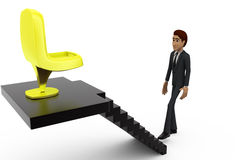 3d man chair on stairs concept Royalty Free Stock Photography
