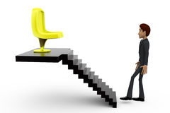 3d man chair on stairs concept Stock Photography