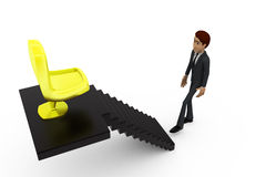 3d man chair on stairs concept Royalty Free Stock Photo
