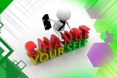 3d man change yourself illustration Stock Photography