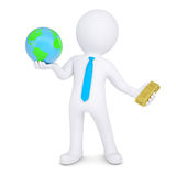 3d man changes the planet earth for gold. Render on a white background Royalty Free Stock Photo