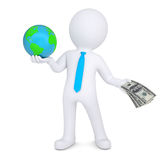 3d man changes the planet earth for money. Isolated render on a white background Royalty Free Stock Photos